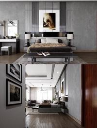 Modern Bedroom Interior Scene 65