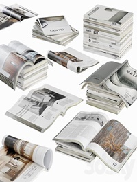 Opened magazines stack set