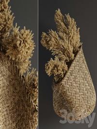 Pampas flower in hand basket
