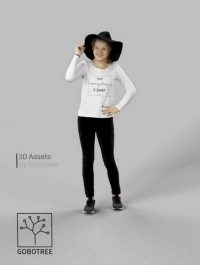 Ema Casual Teenage Girl in Jeans Standing And Holding Her Hat