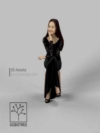 Paula Fancy Dress Asian Woman In Black Dress Looking And Sitting 3D model
