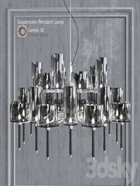 Chandelier AXO Light Spillray SP lamps 30 smoke glass