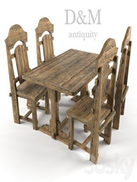 Aged table and chairs from D & M