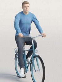 Casual man in blue sweater cycling 3D model