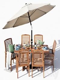 Brown Acacia 7- Piece Dining Set