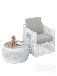 Table and rattan chair