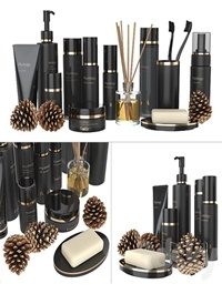 A set of black cosmetics