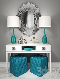 Dressing table with puffs lamps and decor