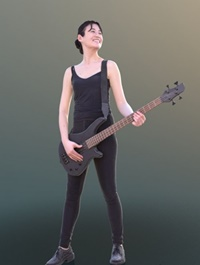 Casual Girl Playing Guitar Scanned 3d model