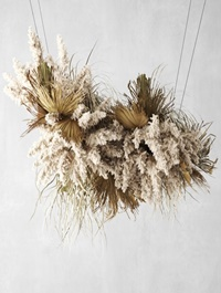 Pendant decor of Pampas grass and dried palm leaves