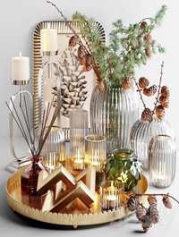 Decorative set with larch branch and candles
