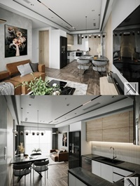 Interior Kitchen – Livingroom Scene By Brian Vu