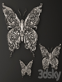 Stucco butterfly decor
