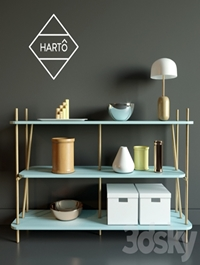 Chest of drawers SIMONE BOOKCASE, FADED BLUE HARTO