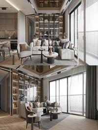 Interior Kitchen Livingroom Scene By Vu Thanh Tung