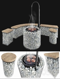Gabion fireplace benches