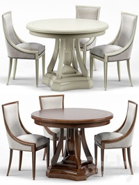 Stockton Ivory Lacquered Dining Chair, Maxime French Round Dining Table