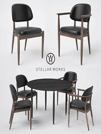 Stellar Works Slow Side Chair Dining Chair and Dining Table