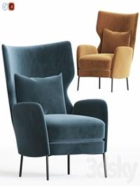 Alex Navy Blue Velvet Accent Chair Crateandbarrel